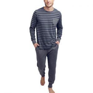 Jockey Cotton Nautical Stripe Pyjama Grårandig bomull Large Herr