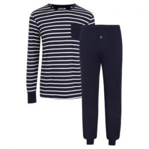 Jockey Cotton Nautical Stripe Pyjama Marin Randig bomull Large Herr