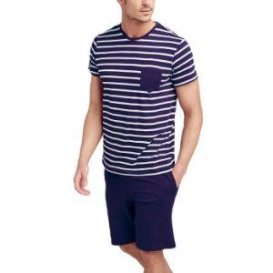 Jockey Cotton Nautical Stripe Short Pyjama Marin Randig bomull Large Herr