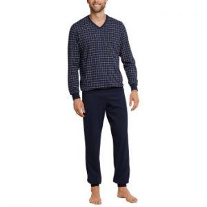 Schiesser Day and Night Long Check Pyjama Mörkblå bomull Medium Herr