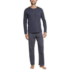 Schiesser Day and Night Long Pyjama Antracit bomull 3XL Herr