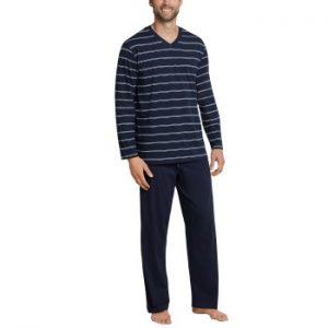 Schiesser Day and Night Long Stripe Pyjama 3XL-5XL Mörkblå bomull 4XL Herr