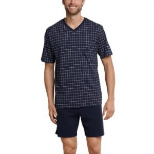 Schiesser Day and Night Short Check Pyjama 3XL-6XL Mörkblå bomull 3XL Herr