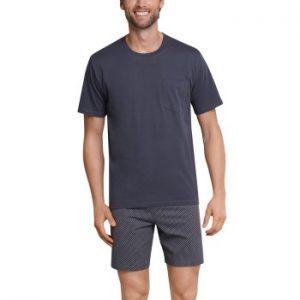 Schiesser Day and Night Short Pyjama Antracit bomull Medium Herr