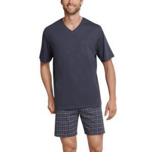 Schiesser Day and Night Short Pyjama V-neck Antracit bomull Large Herr