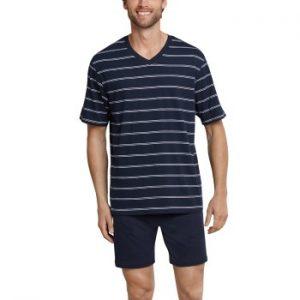 Schiesser Day and Night Short Stripe Pyjama Mörkblå bomull Medium Herr