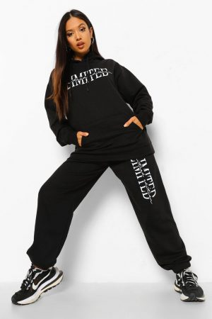 Petite - Limited Edition Joggers Med Tryck, Black