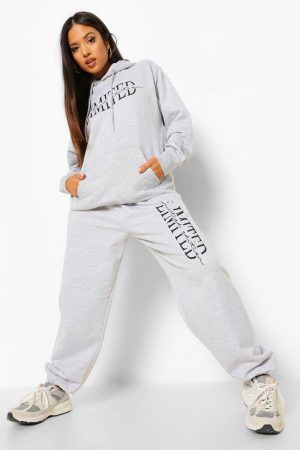 Petite - Limited Edition Joggers Med Tryck, Grey