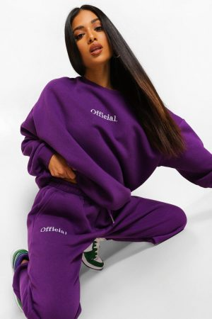 Petite - Official Joggers Med Brodyr, Purple