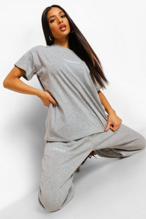 Petite - Official Joggers Med Brodyr, Grey